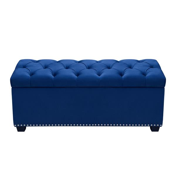 Majestic Tufted Royal Blue Velvet Lift-Top Storage Trunk with Nail Head Accent