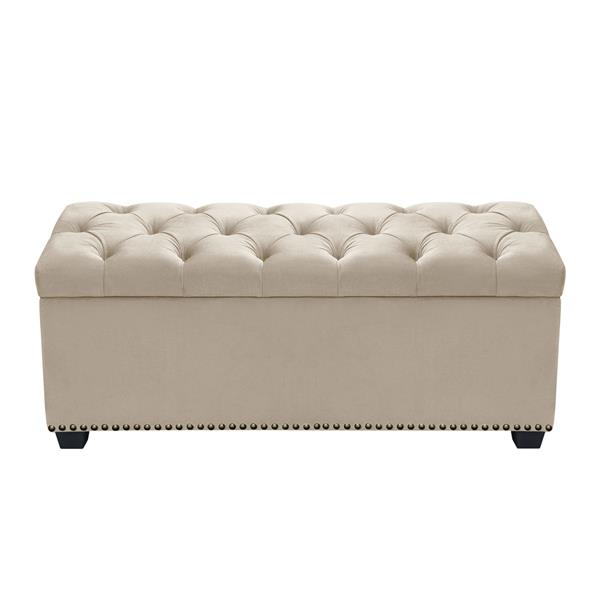 Majestic Tufted Tan Velvet Lift-Top Storage Trunk with Nail Head Accent