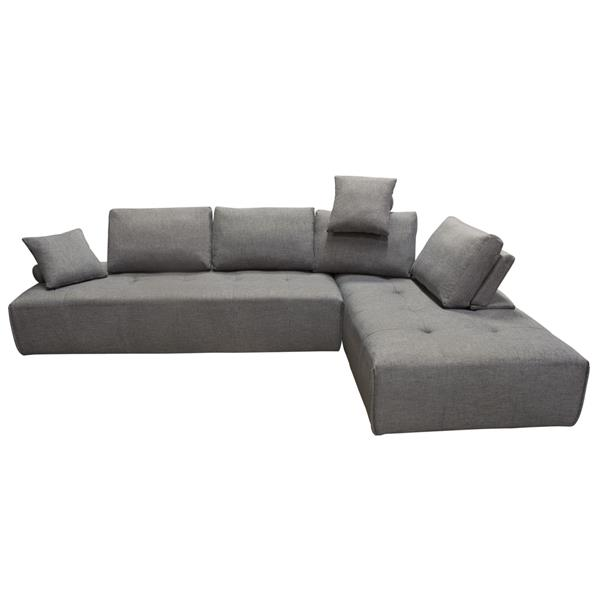 Cloud 2-Piece Lounge Seating Platforms with Moveable Backrest Supports in Space Grey Fabric