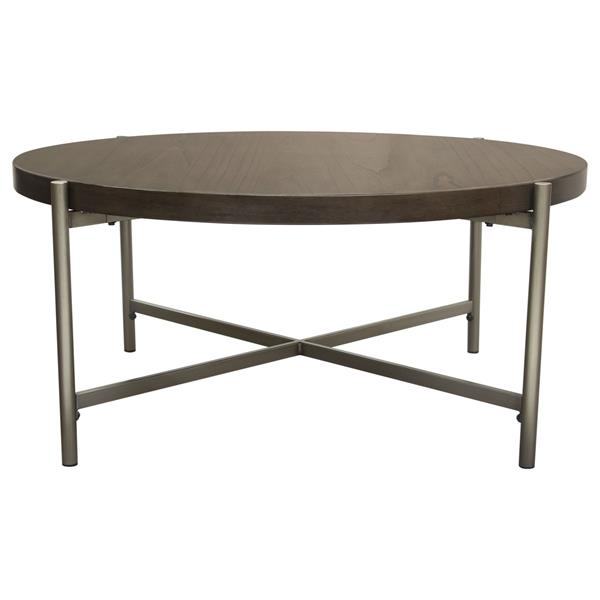 Atwood 40-Inch Round Cocktail Table with Grey Oak Veneer Top and Brushed Silver Metal Base