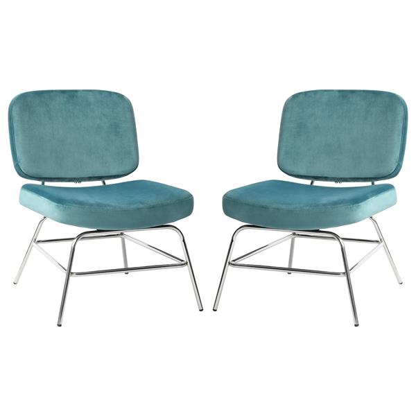 Hanna Set of Two Accent Chairs in French Blue Velvet with Chrome Legs