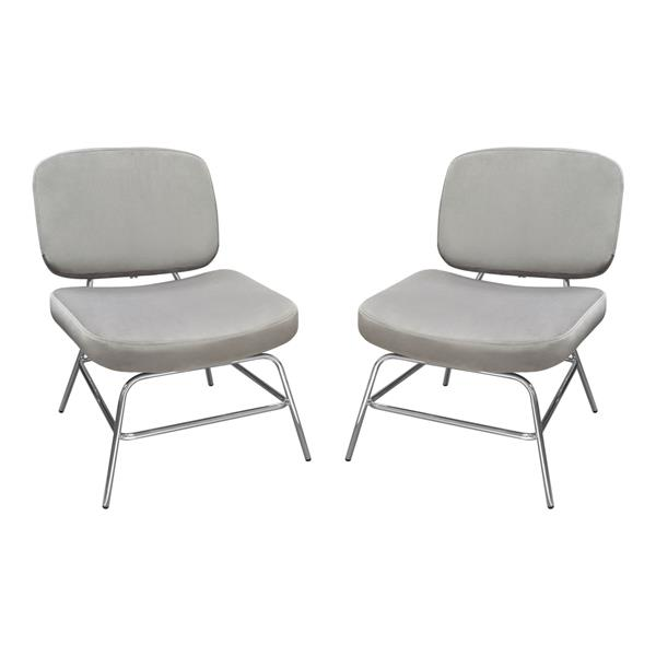 Hanna Set of Two Accent Chairs in Grey Velvet with Chrome Legs