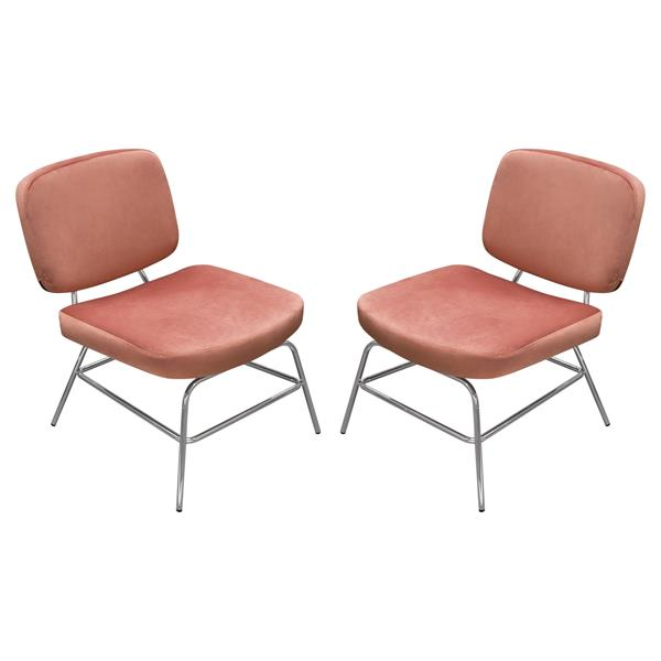 Hanna Set of Two Accent Chairs in Rose Velvet with Chrome Legs