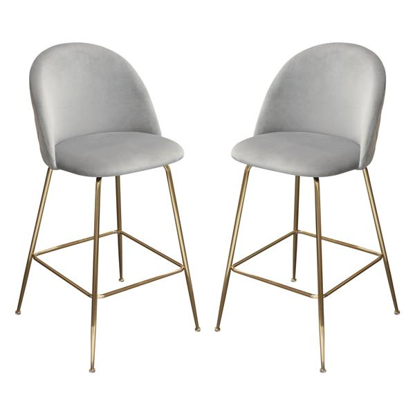 Lilly Set of Two Bar Height Chairs in Grey Velvet with Brushed Gold Metal Legs