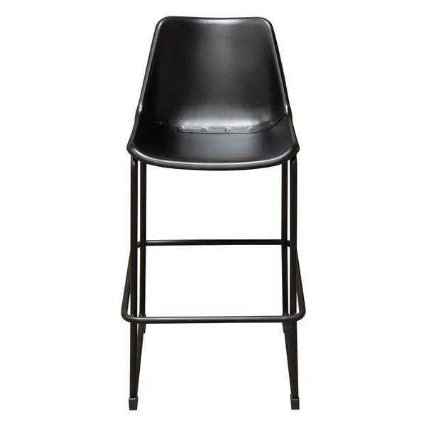 Camden Bar Height Chair in Genuine Black Leather