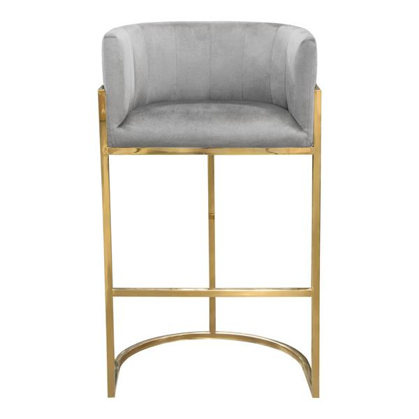 Pandora Bar Height Chair in Grey Velvet with Gold Frame