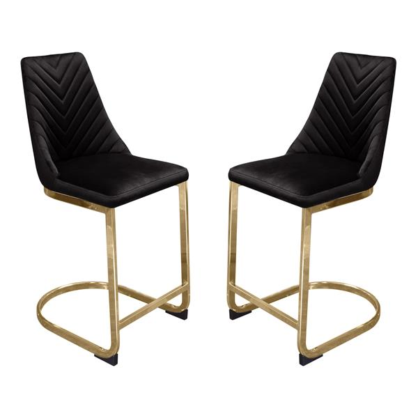 Vogue Set of Two Bar Height Chairs in Black Velvet with Gold Metal Base