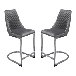 Vogue Set of Two Bar Height Chairs in Grey Velvet with Silver Metal Base