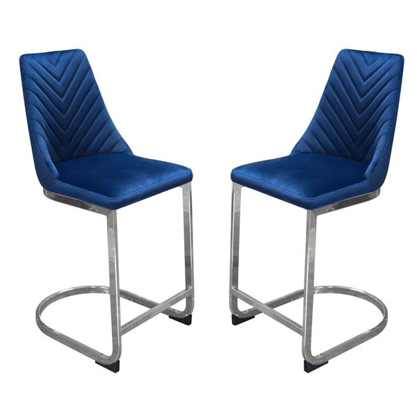 Vogue Set of Two Bar Height Chairs in Navy Blue Velvet with Silver Metal Base