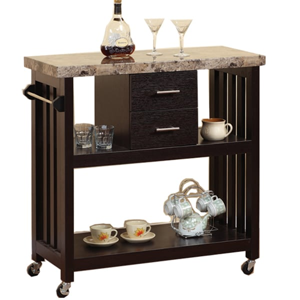 Spindle Frame Kitchen Cart with Faux Marble Top