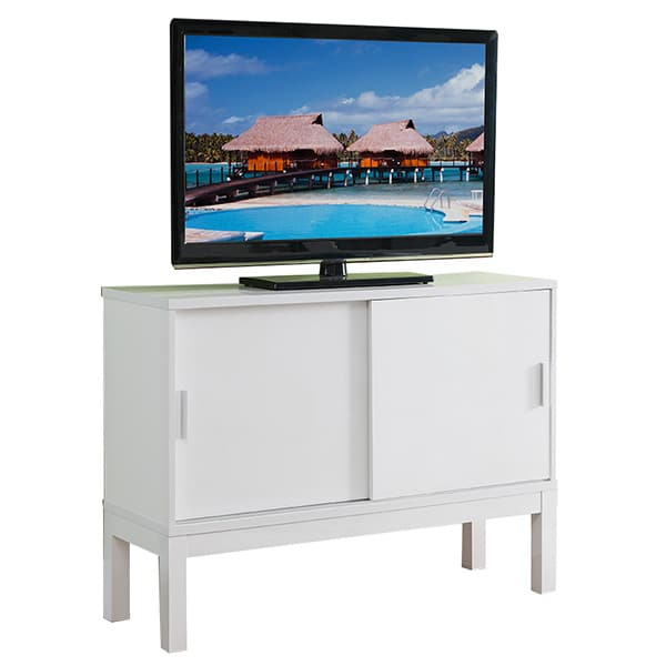 Glossy White Buffet or TV Stand with Sliding Doors