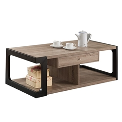 Two-Tone Coffee Table with Divided Base Shelves