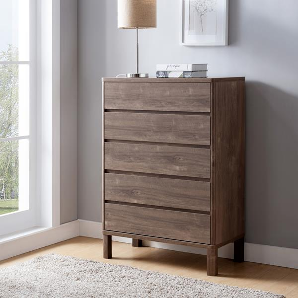 Hazelnut Five Drawer Chest with Five Drawers