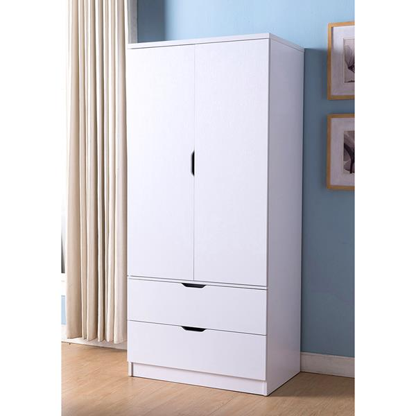 White Wardrobe with Two-Door Cabinet