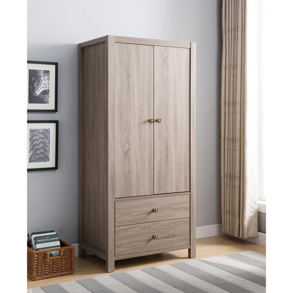 Dark Taupe Wardrobe with One Interior Hanging Rail