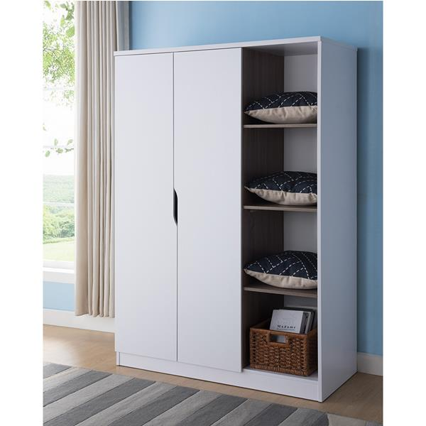 White and Dark Taupe Wardrobe with Four Side Shelves
