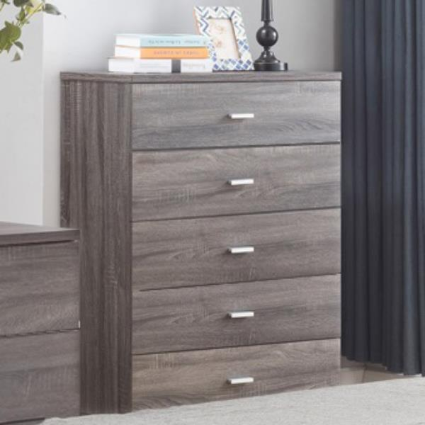 Distressed Grey Five Drawer Chest with Metal Pulls