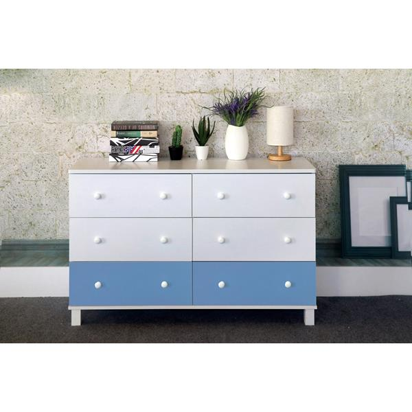 White Five Drawer Chest with Tri-Color Design