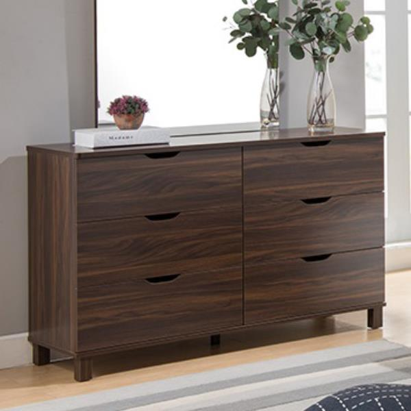 Dark Walnut Five Drawer Chest
