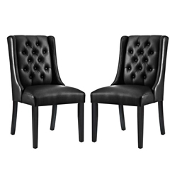 Baronet Dining Chair Vinyl Set of 2 - Black Style B