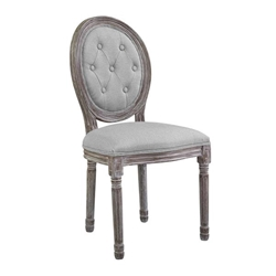 Arise Vintage French Upholstered Fabric Dining Side Chair - Light Gray