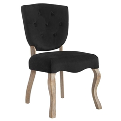 Array Vintage French Performance Velvet Dining Side Chair - Black