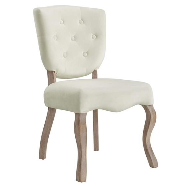 Array Vintage French Performance Velvet Dining Side Chair - Ivory