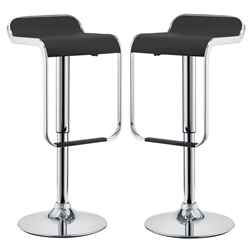 LEM Bar Stool Vinyl Set of 2 - Black