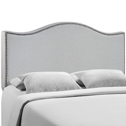 Curl Queen Nailhead Upholstered Headboard - Sky Gray