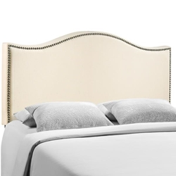 Curl Queen Nailhead Upholstered Headboard - Ivory