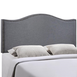 Curl Queen Nailhead Upholstered Headboard - Smoke