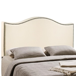 Curl King Nailhead Upholstered Headboard - Ivory