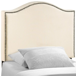 Curl Twin Nailhead Upholstered Headboard - Ivory