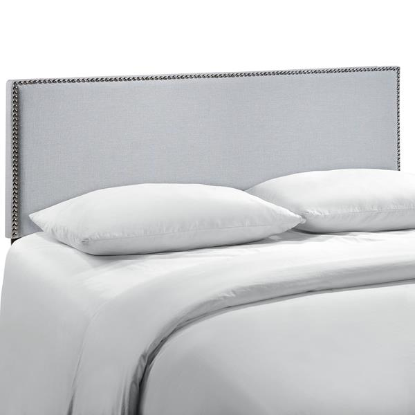 Region Nailhead Queen Upholstered Headboard - Sky Gray