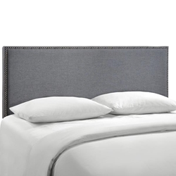 Region Nailhead Queen Upholstered Headboard - Smoke