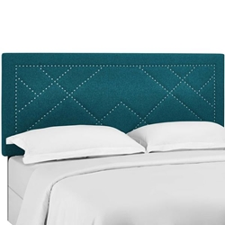 Reese Nailhead King and California King Upholstered Linen Fabric Headboard - Teal
