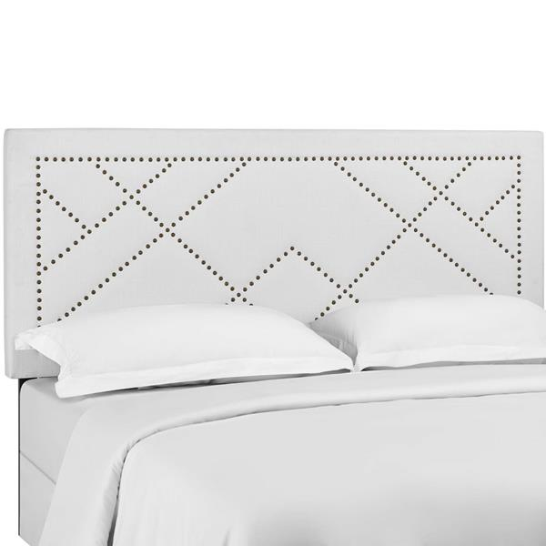 Reese Nailhead King and California King Upholstered Linen Fabric Headboard - White