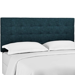 Paisley Tufted Twin Upholstered Linen Fabric Headboard - Azure