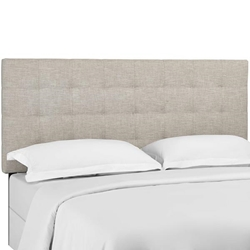 Paisley Tufted Twin Upholstered Linen Fabric Headboard - Beige