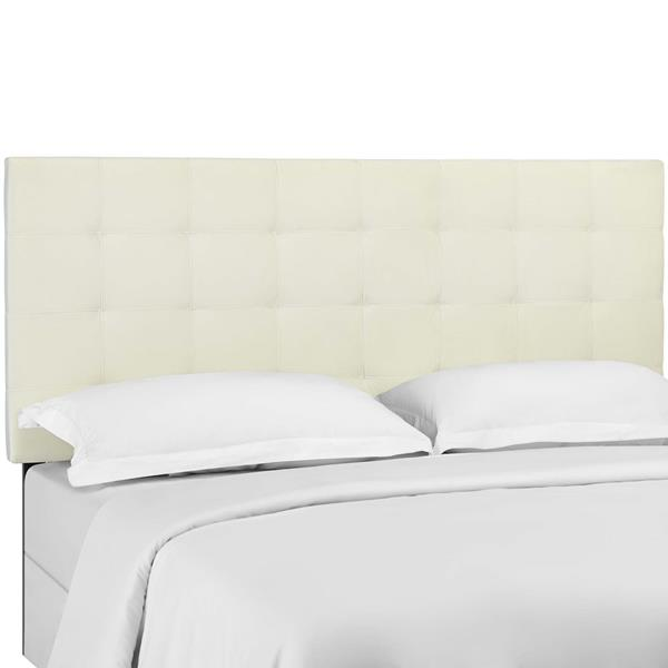 Paisley Tufted Twin Upholstered Performance Velvet Headboard - Ivory