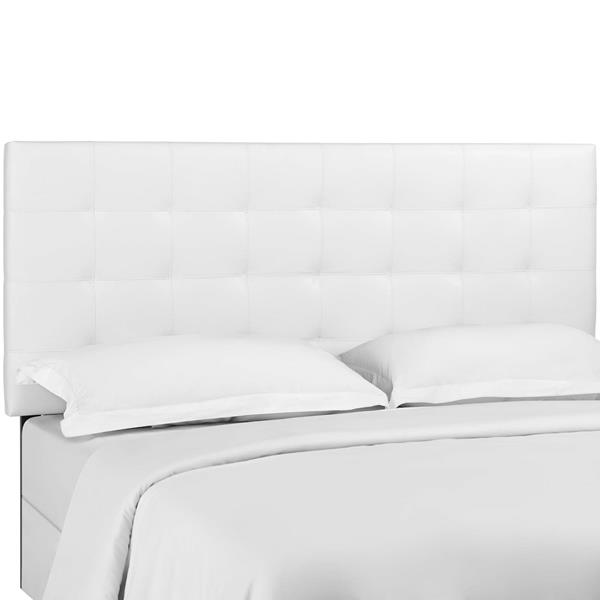 Paisley Tufted Twin Upholstered Faux Leather Headboard - White