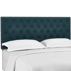 Helena Tufted Twin Upholstered Linen Fabric Headboard - Azure