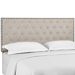 Helena Tufted Twin Upholstered Linen Fabric Headboard - Beige