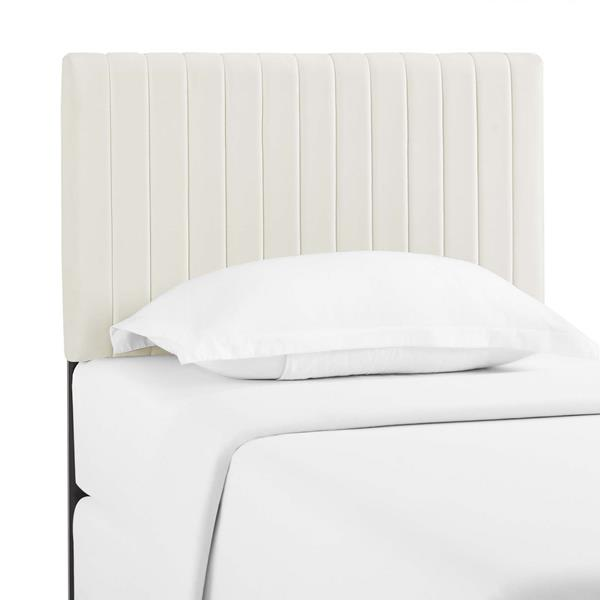 Keira Twin Performance Velvet Headboard - Ivory