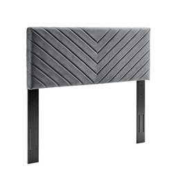 Alyson Angular Channel Tufted Performance Velvet Twin Headboard - Charcoal