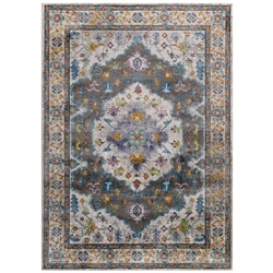 Success Anisah Distressed Floral Persian Medallion 4x6 Area Rug - Gray, Ivory, Yellow, Orange