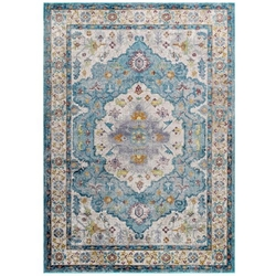 Success Anisah Distressed Floral Persian Medallion 4x6 Area Rug - Light Blue, Ivory, Yellow, Orange
