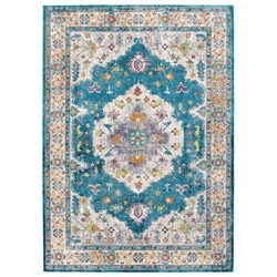 Success Anisah Distressed Floral Persian Medallion 4x6 Area Rug - Blue, Ivory, Yellow, Orange