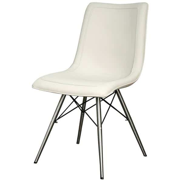 Blaine Chair Stainless Steel Legs Light Cream  Set of Two