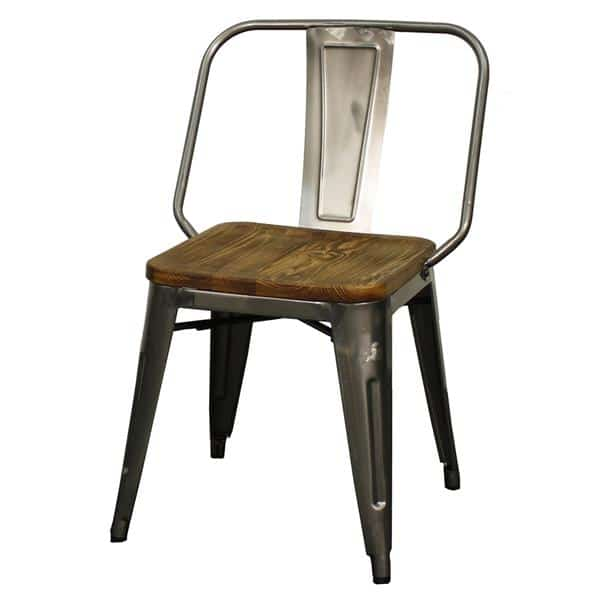 Brian Metal Side Chair Wood Seat Black  Set of  Four